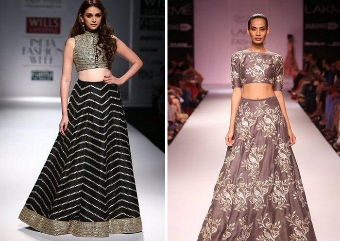 Crop top bridal lehengas