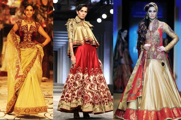 Use of intricately patterned jackets over sarees and lehengas